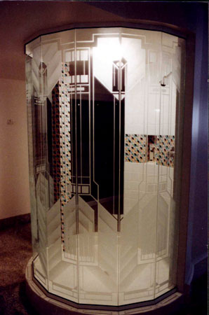 Surface etched shower