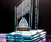Etched glass corporate award