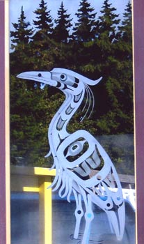 Heron etched glass door