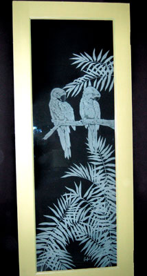 Etched glass interior door